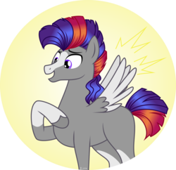 Size: 1024x993 | Tagged: safe, artist:babyroxasman, oc, oc only, oc:neon mullet, pegasus, pony, saddle arabian, blaze (coat marking), colored wings, colored wingtips, hoof on chest, male, simple background, socks (coat markings), solo, stallion, vector