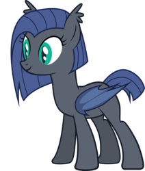 Size: 2424x2856 | Tagged: artist:duskthebatpack, bat wings, ear fluff, female, folded wings, mare, oc, oc:echo shroud, oc only, pony, safe, show accurate, simple background, slit eyes, smiling, solo, standing, transparent background, vector