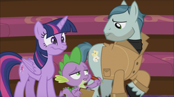 Size: 1152x647 | Tagged: safe, screencap, on stage, spike, twilight sparkle, alicorn, pony, horse play, background pony, creepy, creepy smile, smiling, twilight sparkle (alicorn), weird face