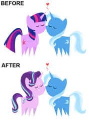 Size: 700x978 | Tagged: alicorn, artist:the smiling pony, before and after, comparison, edit, eyes closed, female, heart, lesbian, mare, pointy ponies, pony, safe, shipping, simple background, starlight glimmer, startrix, trixie, twilight sparkle, twilight sparkle (alicorn), twixie, unicorn, white background
