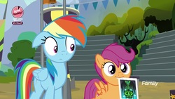 Size: 1920x1080 | Tagged: safe, screencap, rainbow dash, scootaloo, pegasus, pony, the washouts (episode), discovery family logo, duo, female, filly, floppy ears, foal, mare, mouth hold, poster