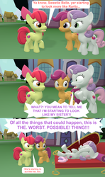 Size: 1920x3240 | Tagged: 3d, apple bloom, artist:red4567, behaving like rarity, cutie mark crusaders, drama queen, fainting couch, marshmelodrama, overreaction, rarity, safe, scootaloo, source filmmaker, sweetie belle, the worst possible thing