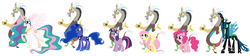 Size: 3961x893   Tagged: safe, artist:roseprincessmitia, discord, fluttershy, pinkie pie, princess celestia, princess luna, queen chrysalis, twilight sparkle, alicorn, discolight, discolis, discopie, discord gets all the alicorns, discord gets all the mares, discord gets all the waifus, discoshy, discoshylestia, discoshylestialight, discoshylight, dislestia, female, lunacord, male, shipping, stock vector, straight, twilight sparkle (alicorn)
