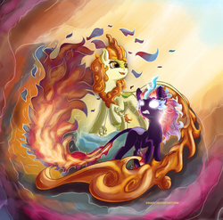 Size: 1024x1011 | Tagged: safe, artist:eriadu, autumn blaze, kirin, nirik, sounds of silence, duality, female, glowing eyes, mane of fire