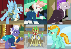 Size: 2202x1536   Tagged: safe, screencap, flam, flim, gladmane, lightning dust, svengallop, wind rider, zesty gourmand, earth pony, pegasus, pony, unicorn, friendship university, rarity investigates, spice up your life, the mane attraction, viva las pegasus, wonderbolts academy, antagonist, cropped, female, flim flam brothers, glowing horn, irredeemable, magic, male, mare, stallion