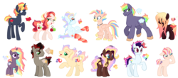Size: 5040x2224 | Tagged: safe, artist:gr0ttie, oc, oc only, oc:adventurious, oc:big buck, oc:bubble wand, oc:cherry sorbet, oc:chili chocolate, oc:plot hole, oc:priceless, oc:spring loving, oc:sunrise spectrum, oc:swishing sap, oc:twister, oc:vampiric messanger, classical hippogriff, earth pony, hippogriff, pegasus, pony, unicorn, adoptable, base used, clothes, colored wings, colored wingtips, crack ship offspring, female, magical lesbian spawn, male, mare, offspring, parent:applejack, parent:big macintosh, parent:cherry jubilee, parent:doctor caballeron, parent:fancypants, parent:fluttershy, parent:king sombra, parent:pinkie pie, parent:princess celestia, parent:princess skystar, parent:rainbow dash, parent:rarity, parent:saffron masala, parent:sunset shimmer, parent:tempest shadow, parent:twilight sparkle, parents:applleron, parents:cherryjack, parents:rainbowmac, parents:rarijack, parents:raripants, parents:saffronpie, parents:skypie, parents:sombrashy, parents:sunsetsparkle, parents:tempestdash, parents:twilestia, parents:twishy, rainbow hair, raised hoof, simple background, socks, stallion, striped socks, transparent background, unshorn fetlocks