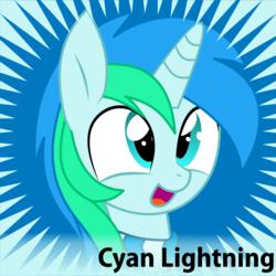 Size: 601x601 | Tagged: safe, artist:cyanlightning, oc, oc only, oc:cyan lightning, pony, unicorn, derpibooru, clothes, colt, male, meta, official spoiler image, scarf, solo, spoilered image joke, vector