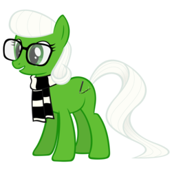 Size: 2667x2667 | Tagged: safe, artist:breadking, oc, oc:shamrock soda, earth pony, pony, clothes, female, glasses, mare, scarf, simple background, solo, transparent background, vector