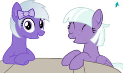 Size: 2500x1489 | Tagged: appointed rounds, artist:arifproject, derpibooru, derpibooru ponified, duo, grin, looking at you, meta, oc, oc:comment, ponified, safe, simple background, smiling, table, transparent background, vector