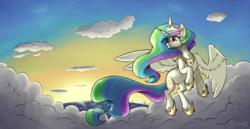 Size: 3860x1986   Tagged: safe, artist:silverhopexiii, princess celestia, alicorn, pony, cloud, female, flying, mare, ocean, solo, sun