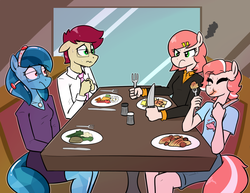 Size: 1200x928 | Tagged: safe, artist:whatsapokemon, oc, oc only, oc:avery, oc:coral, oc:historia, oc:orca, earth pony, anthro, angry, anthro oc, clothes, date, double date, eating, eyes closed, food, fork, glasses, jewelry, knife, necklace, necktie, nervous, pasta, pepper, plate, restaurant, salt, shirt, shorts, sitting, skirt, smiling, spaghetti, suit, sweat, sweater, table, vegetables