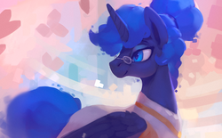 Size: 1100x681 | Tagged: abstract background, alicorn, alternate hairstyle, artist:rodrigues404, clothes, digital art, female, glasses, mare, pony, princess luna, safe, short hair, short mane, smiling, solo