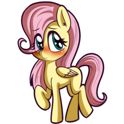 Size: 512x512 | Tagged: artist:anibaruthecat, blank flank, blushing, cute, eye clipping through hair, female, filly, fluttershy, folded wings, looking sideways, pegasus, pony, raised hoof, safe, shyabetes, simple background, smiling, solo, three quarter view, transparent background