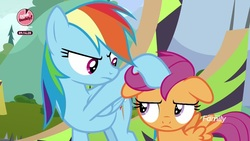 Size: 1920x1080 | Tagged: safe, screencap, rainbow dash, scootaloo, pegasus, pony, the washouts (episode), annoyed, discovery family logo, duo, female, filly, floppy ears, foal, hoof on head, mare, noogie