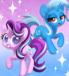 Size: 741x818   Tagged: safe, alternate version, artist:dawnfire, starlight glimmer, trixie, pony, unicorn, abstract background, duo, female, lidded eyes, looking at you, mare, open mouth, smiling