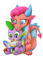 Size: 2171x3070 | Tagged: artist:mysticalpha, behind, comic, commission, cuddling, cute, dragon, dragoness, duo, female, friends forever, idw, looking down, male, mina, open mouth, power ponies, power ponies comic, reading, safe, shipping, simple background, sitting, sitting down, smiling, spike, spina, spoiler:comic, straight, transparent background, winged spike