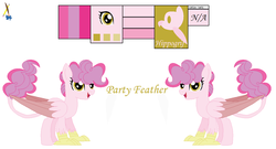 Size: 1024x551 | Tagged: artist:froggers1995, female, hippogriff, hybrid, interspecies offspring, magical lesbian spawn, oc, oc only, oc:party feather, offspring, parent:gilda, parent:pinkie pie, parents:gildapie, reference sheet, safe, simple background, solo, white background