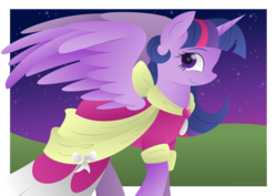 Size: 1024x724 | Tagged: safe, artist:lavenderrain24, twilight sparkle, alicorn, pony, clothes, coronation dress, dress, female, gem, hooves, horn, lineless, mare, night, night sky, simple background, sky, smiling, solo, spread wings, stars, transparent background, twilight sparkle (alicorn), wings