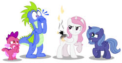 Size: 7051x3638 | Tagged: safe, artist:aleximusprime, princess celestia, princess luna, oc, oc:penny the dragon, oc:percy the dragon, alicorn, dragon, pony, accident, angry, annoyed, burn, burnt, cewestia, covering mouth, cute, dragon oc, dragoness, female, filly, fire, kids, laughing, male, mare, oops, pink-mane celestia, royal sisters, simple background, tail, transparent background, woona, young celestia, young luna, younger
