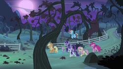 Size: 1280x720 | Tagged: alicorn, applejack, apple orchard, apple tree, bare tree, bats!, dragon, earth pony, female, fence, fluttershy, full moon, male, mane seven, mane six, mare, moon, night, orchard, path, pegasus, pinkie pie, pony, rainbow dash, rarity, safe, screencap, spike, tree, trotting, twilight sparkle, twilight sparkle (alicorn), unicorn