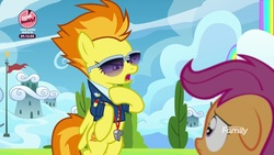 Size: 1920x1080 | Tagged: safe, screencap, scootaloo, spitfire, pegasus, pony, the washouts (episode), clothes, duo, female, filly, floppy ears, foal, mare, sunglasses, uniform, whistle, wonderbolts dress uniform, wonderbolts headquarters