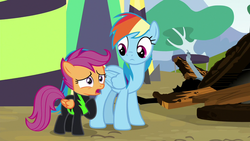 Size: 1280x720 | Tagged: safe, screencap, rainbow dash, scootaloo, pegasus, pony, the washouts (episode), clothes, duo, female, filly, foal, hoof on chest, mare, uniform, washouts uniform