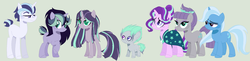 Size: 1873x455 | Tagged: safe, artist:crystalllight, maud pie, starlight glimmer, trixie, family, female, lesbian, magical lesbian spawn, mauxie, offspring, parent:maud pie, parent:starlight glimmer, parent:trixie, parents:mauxie, parents:starmaud, parents:starmauxie, parents:startrix, shipping, starmaud, starmauxie, startrix