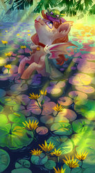 Size: 1024x1862 | Tagged: safe, artist:holivi, oc, bat pony, frog, pony, bat pony oc, collar, commission, ear fluff, female, flower, freckles, looking at each other, signature, tongue out, tree, water