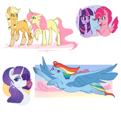 Size: 1184x1114 | Tagged: safe, artist:nederside, applejack, fluttershy, pinkie pie, rainbow dash, rarity, twilight sparkle, earth pony, pegasus, pony, unicorn, applejack (g5), earth pony twilight, fluttershy (g5), g5, g5 concept leak style, mane six, mane six (g5), pegasus pinkie pie, pinkie pie (g5), race swap, rainbow dash (g5), rarity (g5), tail feathers, twilight sparkle (g5), unicorn fluttershy