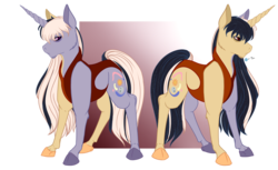 Size: 3306x2019 | Tagged: safe, artist:absolutecactus, oc, oc only, oc:solar cycle, chimera, commission, crackship adopt, custom adopt, magical lesbian spawn, offspring, parent:daybreaker, parent:moondancer, parents:moonbreaker, reference sheet, simple background, solo, tra, transparent background, two sided