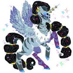 Size: 600x600 | Tagged: alicorn, artist:njeekyo, colored hooves, ear piercing, earring, female, horn ring, idw, jewelry, mare, piercing, queen parabola, rearing, safe, simple background, solo, white background, zebra, zebra alicorn