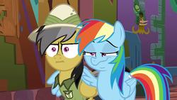 Size: 853x480 | Tagged: safe, edit, edited screencap, screencap, daring do, rainbow dash, pegasus, pony, stranger than fan fiction, crossing the memes, dashface, faic, hug, i mean i see, meme, rainbow dash is best facemaker, smug, smugdash, winghug