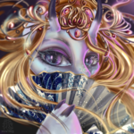 Size: 3000x3000 | Tagged: safe, artist:mdwines, oc, oc only, oc:raven eve'hart, demon, demon pony, anthro, blue eyes, bust, commission, eastern, fan, folding fan, ginger hair, gold, head, light skin, long hair, looking at you, solo, ych result