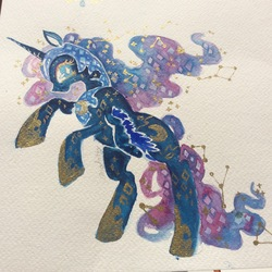 Size: 1936x1936 | Tagged: safe, artist:analioth, nightmare moon, alicorn, pony, female, mare, solo, traditional art
