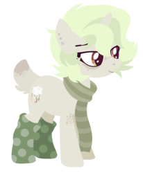 Size: 1729x2100 | Tagged: safe, artist:nightmarye, oc, oc:luci, pony, unicorn, clothes, deer tail, female, lineless, mare, scarf, simple background, socks, solo, transparent background