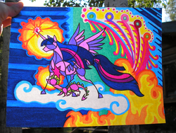 Size: 2016x1512 | Tagged: alicorn, artist:foldawaywings, cloud, dragon, duo, fire, horn, magic, photo, pony, safe, spike, spread wings, stained glass, traditional art, twilight sparkle, twilight sparkle (alicorn), wings