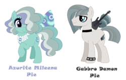 Size: 834x534 | Tagged: artist:andy-hazards, base used, brother and sister, choker, duo, earth pony, female, hair over one eye, magical lesbian spawn, male, mare, oc, oc:azure pie, oc:gabbro pie, offspring, parent:coco pommel, parent:marble pie, parents:marblecoco, pony, raised hoof, safe, simple background, spiked wristband, stallion, transparent background, wristband
