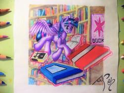 Size: 4232x3174 | Tagged: safe, artist:uliovka, twilight sparkle, alicorn, book, bookshelf, female, solo, traditional art, twilight sparkle (alicorn)
