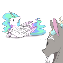 Size: 2000x2000 | Tagged: safe, artist:glitterstar2000, discord, princess celestia, oc, oc:nayade, hybrid, ..., behaving like a bird, brooding, chest fluff, dislestia, even discord is confused, female, heart, interspecies offspring, male, momlestia, mother and daughter, offspring, parent:discord, parent:princess celestia, parents:dislestia, ponyloaf, shipping, simple background, straight, white background