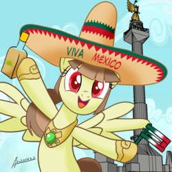 Size: 1810x1810 | Tagged: safe, artist:archooves, oc, oc:tailcoatl, pegasus, pony, alcohol, cute, female, food, hat, independence day, mexican, mexican independence day, mexico, mexico city, nation ponies, ponified, rattle, sketchup, solo, spanish, tequila