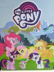 Size: 3016x4032 | Tagged: safe, photographer:horsesplease, applejack, fluttershy, pinkie pie, rainbow dash, rarity, spike, twilight sparkle, alicorn, dragon, earth pony, pegasus, pony, unicorn, malaysia, mane six, my little pony logo, photo, twilight sparkle (alicorn), wings