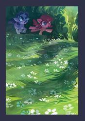 Size: 1280x1827   Tagged: safe, artist:holivi, oc, oc only, oc:bender watt, oc:holivi, alicorn, earth pony, pony, alicorn oc, duo, flower, grass, holiwatt, scenery
