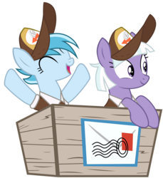 Size: 2164x2367 | Tagged: appointed rounds, artist:sonofaskywalker, box, duo, female, hat, mailmare hat, mare, pegasus, pony, rainy day, road to friendship, safe, simple background, transparent background, vector