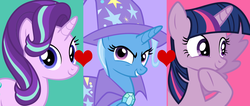 Size: 1302x554 | Tagged: safe, artist:themexicanpunisher, starlight glimmer, trixie, twilight sparkle, alicorn, female, lesbian, polyamory, shipping, startrix, twilight sparkle (alicorn), twixie, twixstar