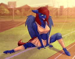 Size: 4134x3265 | Tagged: anthro, anthro oc, artist:laren_676, basketball court, belly button, blurred background, bra, cheerleader, clothes, digital art, female, fence, grass, hair over one eye, leggings, legs, looking at you, mare, midriff, miniskirt, oc, oc:night coder, oc only, open mouth, pegasus, pleated skirt, red hair, red mane, red tail, running track, safe, sitting down, skirt, solo, sports bra, tongue out, underwear, unguligrade anthro, wings