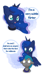 Size: 7631x13559 | Tagged: safe, artist:adequality, artist:tjpones, princess luna, alicorn, pony, abstract background, absurd file size, absurd resolution, blatant lies, bust, comic, dialogue, female, flirt, flirting, floppy ears, guard, guardluna, male, mare, night guard, royal guard, speech bubble, stallion, subtle as a train wreck