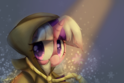 Size: 1778x1200 | Tagged: artist:fluorbaryt, cloak, clothes, clover the clever, female, g1, g1 to g4, generation leap, mare, pony, safe, snow, snowflake, solo, twilight, unicorn