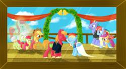 Size: 1793x980 | Tagged: safe, artist:karmadash, apple bloom, applejack, big macintosh, bow hothoof, bright mac, granny smith, pear butter, rainbow dash, scootaloo, windy whistles, ghost pony, alternate hairstyle, bell, brightbutter, clothes, couple, crying, dress, farm, female, male, marriage, nuzzling, photo, rainbowmac, shipping, spirit pony, straight, wedding, wedding dress, wedding veil, windyhoof