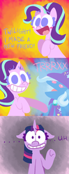 Size: 650x1647 | Tagged: safe, artist:alittleofsomething, starlight glimmer, trixie, twilight sparkle, alicorn, pony, unicorn, no second prances, comic, female, grin, happy, lineless, mare, smiling, twilight sparkle (alicorn)