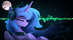 Size: 2150x1175 | Tagged: alicorn, artist:yakovlev-vad, constellation, eyes closed, female, headphones, listening, mare, moon, pony, princess luna, safe, smiling, solo, wallpaper